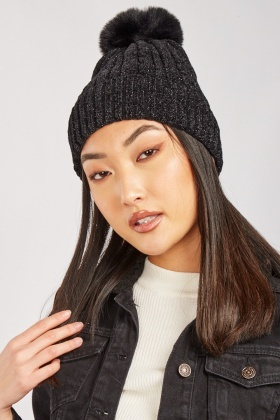 Lurex Cable Knit Beanie Hat