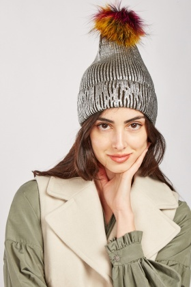 Metallic Knit Beanie Hat