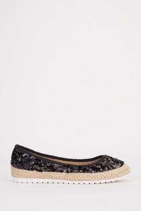 Sequin Embellished Espadrille Shoes