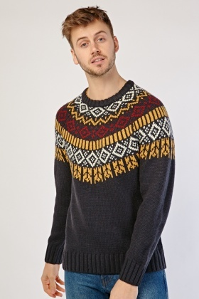 Fairisle Pattern Chunky Mens Jumper