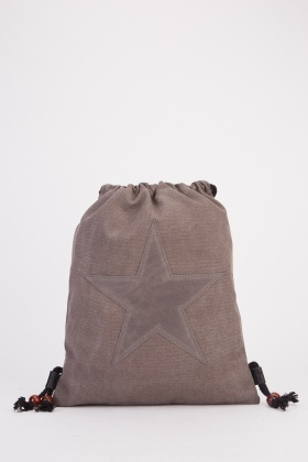 Star Patch Trim Drawstring Backpack