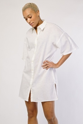 Mini Short Sleeve Shirt Dress