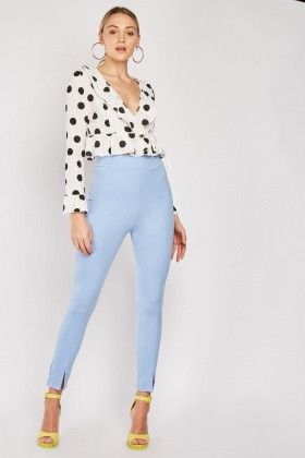 Slit Hem Sky Blue Trousers
