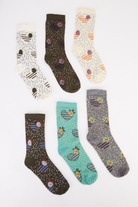 12 Pairs Of Heart Print Womens Socks