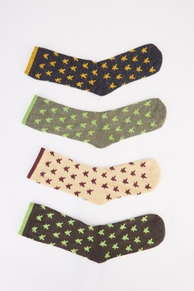 12 Pairs Star Print Womens Socks