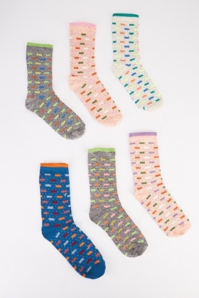 12 Pairs Multi Coloured Line Print Socks