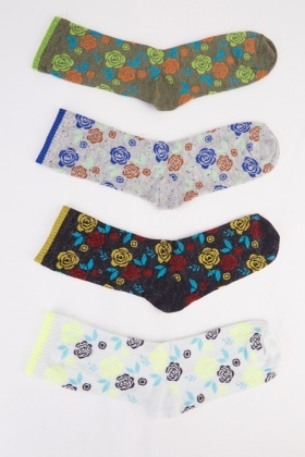 Rose Print 12 Pairs Of Women Socks