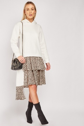 Leopard Print Contrast Hooded Dress