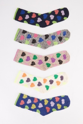 Heart Print 12 Pairs Of Women Socks