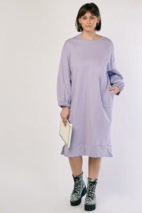 Slanted Twin Pocket Oversized Dress