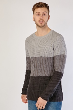 Colour Block Cable Knit Jumper