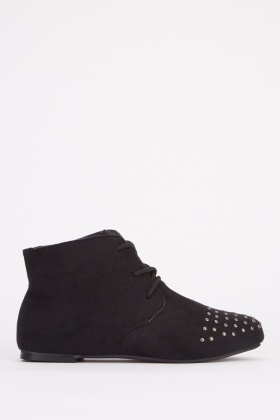Studded Lace Up Kids Ankle Boots