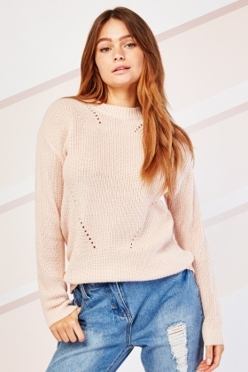 Ribbed Neck Herringbone Knit Jumper
