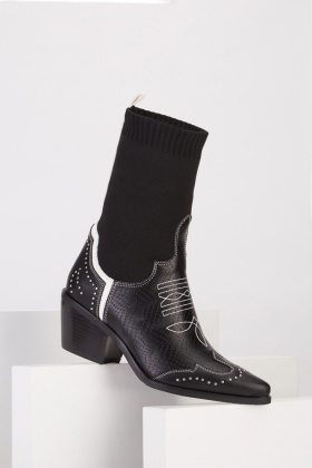 Contrasted Western Sock Boots