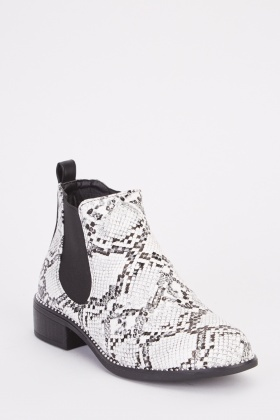 Snake-Skin Print Ankle Boots
