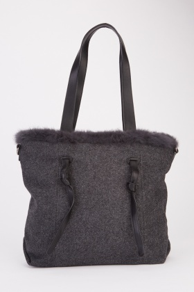 Contrasted Double Handled Tote Bag