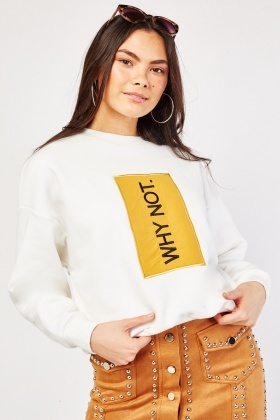 Embroidered Detail Front Sweatshirt