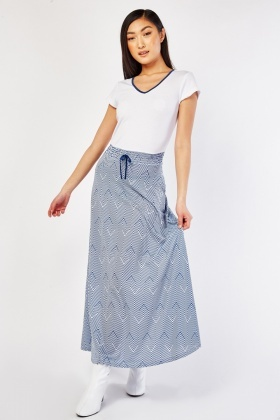 Zig-Zag Printed Attached Skirt Dress