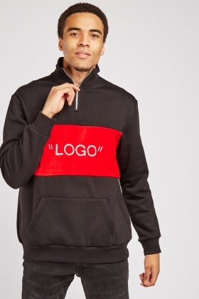 Contrasted Logo Front Zipped Neck Jumper