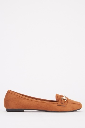 Flat Suedette Detailed Loafers