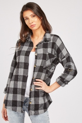 Adjustable D-Ring Sleeve Plaid Shirt