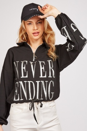 Printed O-Ring Zipper Crop Sweatshirt