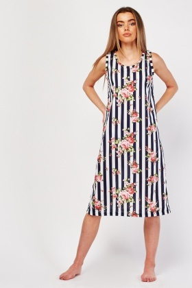 Rose Striped Print Night Dress