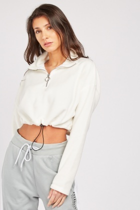Zipper Front Crop Sweatshirt