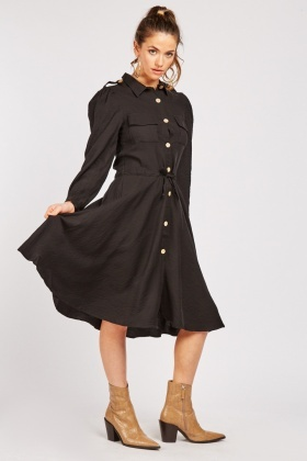 Button Front Flared Shirt Dress