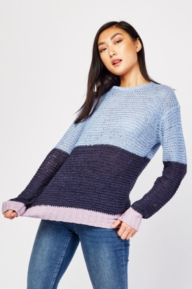 Colour Block Loose Knit Jumper