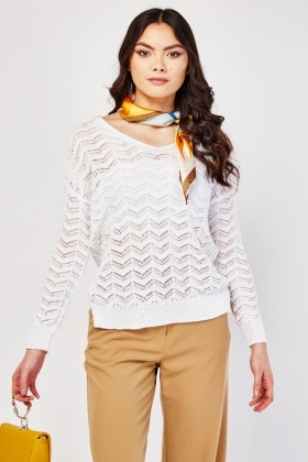 Zig Zag Sheer Knit Jumper