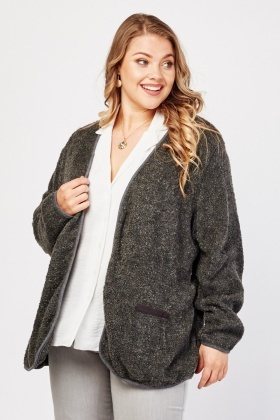Bobble Textured Knitted Open Front Cardigan