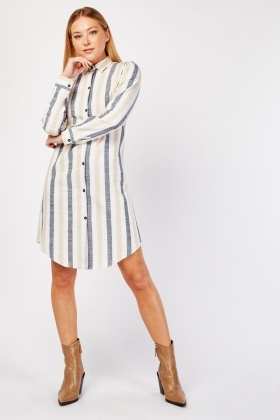 Vertical Striped Shirt Dress