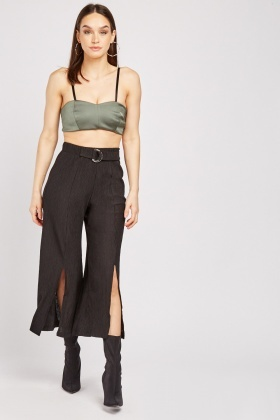 Pleated Slit Front Plisse Trousers