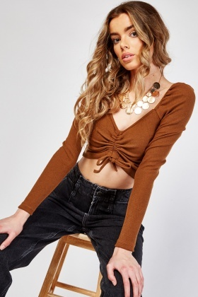Ruched Front Rib Knit Crop Top