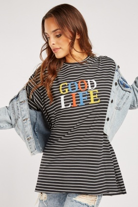 Good Life Printed Striped T-Shirt