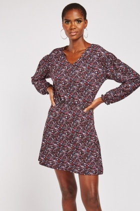 V Neck Mini Calico Print Dress