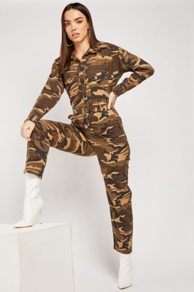 Camouflage Button Up Jumpsuit