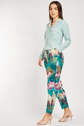 Lightweight Tropical Print Trousers