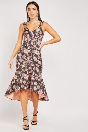 Floral Printed Dip Hem Dress