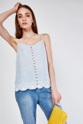 Anglaise Broderie Scallop Hem Top