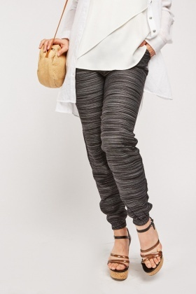 Striped Panel Stretchy Trousers