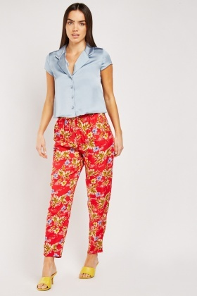 Tropical Floral Print Lightweight Trousers