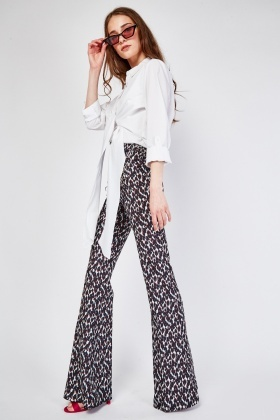 Chain Trim Printed Flared Trousers