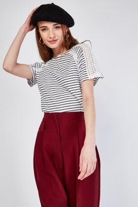 Crochet Trim Striped Top