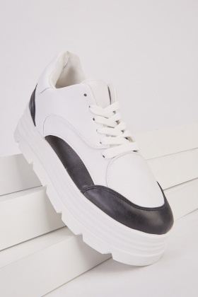 Two Tone Chunky Platform Trainers