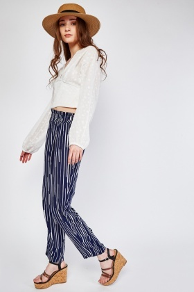 Uneven Striped Lightweight Trousers