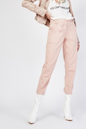 Straight Leg Trousers In Dusty Pink