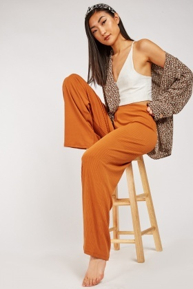 Wide Leg Rust Ribbed Trousers $7.10