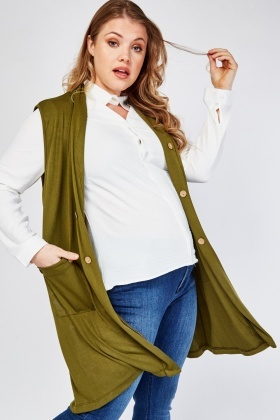 Sleeveless Button Trim Cardigan